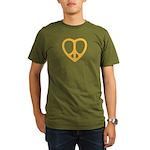 Peace Heart Organic Men's T-Shirt (dark)
