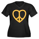 Peace Heart Women's Plus Size V-Neck Dark T-Shirt
