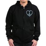 Peace Heart Zip Hoodie (dark)