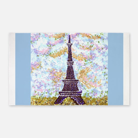 Eiffel Tower Pointillism With 2 Blue Border Sides