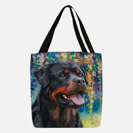Rottweiler Painting Polyester Tote Bag