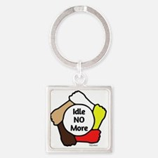 Idle No More - Five Hands Square Keychain