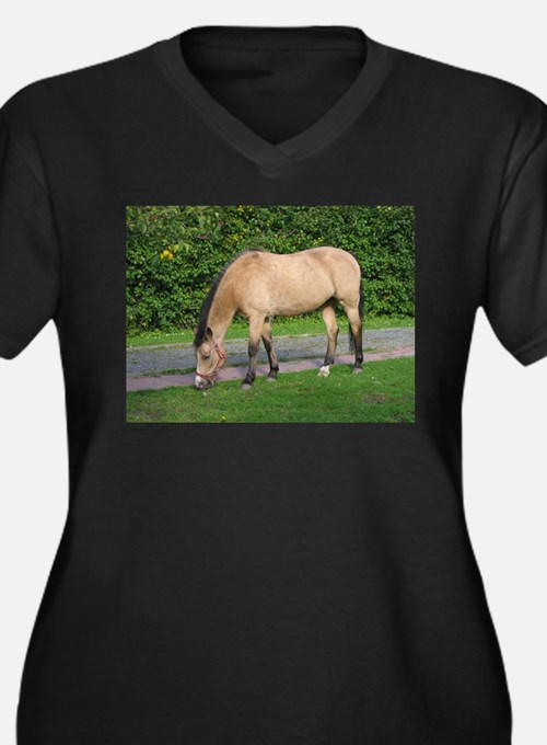 New Forest Pony Women's Plus Size V-Neck Dark T-Sh