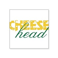 "Cheese Head Square Sticker 3"" x 3"""