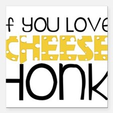 """Love Cheese Square Car Magnet 3"""" x 3"""""""