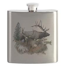 Buck deer bull elk Flask