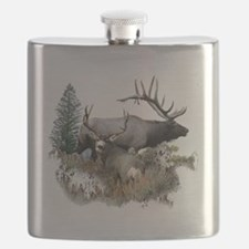 Buck deer bull elk Flask