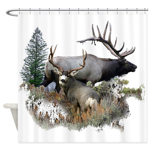 Buck Deer Bull Elk Shower Curtain By Saltypro Shop