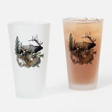 Buck deer bull elk Drinking Glass
