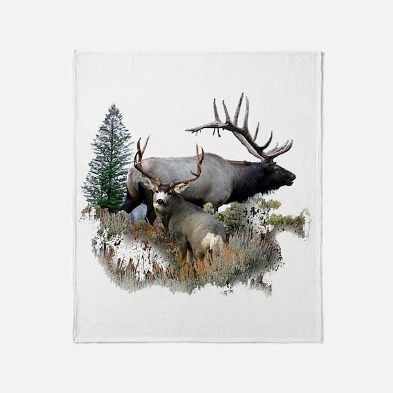 Buck deer bull elk Throw Blanket