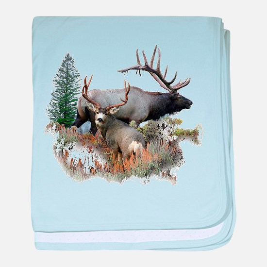 Buck deer bull elk baby blanket