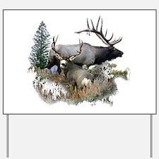 Buck deer bull elk Yard Sign