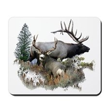 Buck deer bull elk Mousepad