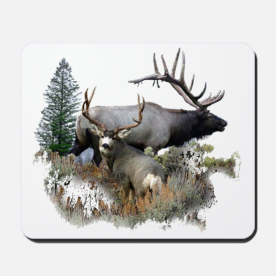 Buck deer bull elk Mousepad