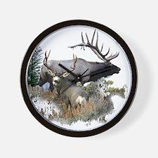 Buck deer bull elk Wall Clock