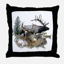 Buck deer bull elk Throw Pillow