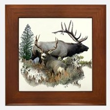 Buck deer bull elk Framed Tile