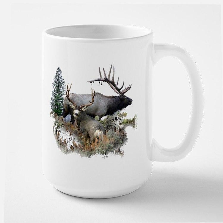 Buck deer bull elk Large Mug
