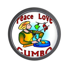 Peace Love Gumbo Wall Clock