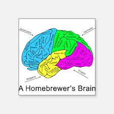 """A Homebrewer's Brain Square Sticker 3"""" x 3"""""""