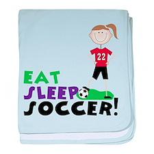 Eat Sleep Soccer baby blanket