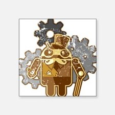 """Steampunk Android (used-Look) Square Sticker 3"""" x"""