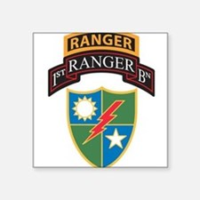 1st Ranger Bn with Ranger Tab Rectangle Sticker