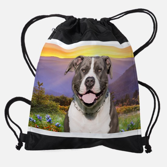 Pit Bull Meadow Drawstring Bag