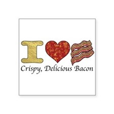 "Crispy Delicious Bacon Square Sticker 3"" x 3"""