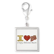 Crispy Delicious Bacon Silver Square Charm