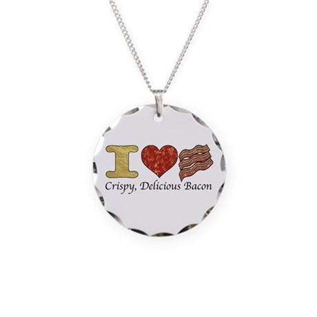 Crispy Delicious Bacon Necklace Circle Charm