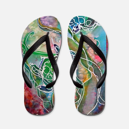 Turtles! Sea turtles! Wildlife art! Flip Flops