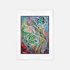 Turtles! Sea turtles! Wildlife art! 5'x7'Area Rug