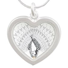 White Peacock Silver Heart Necklace