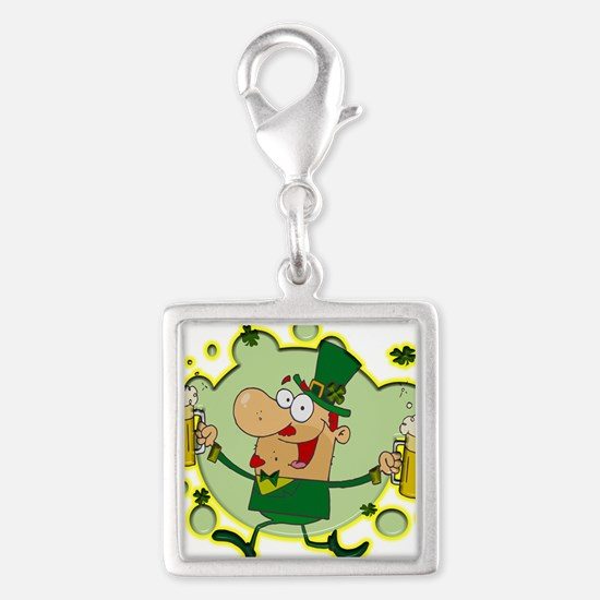 Leprechaun and Two Beers Silver Square Charm
