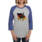 German Flag Doberman Womens Baseball Tee