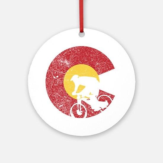 Mountain Bike Colorado Round Ornament