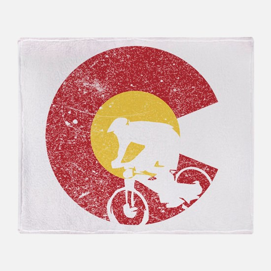 Mountain Bike Colorado Throw Blanket