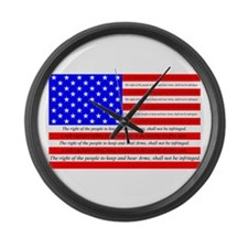 Flag with 2nd Amendment Large Wall Clock