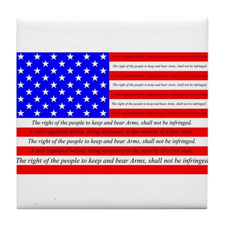 Flag with 2nd Amendment Tile Coaster
