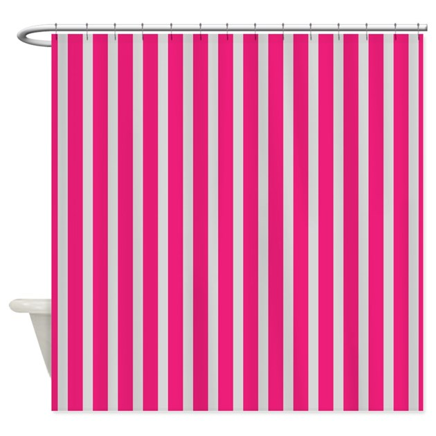 Pink And White Stripes Shower Curtain By Cheriverymery