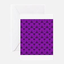Purple Damask Pattern. Greeting Card