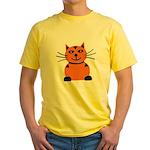 Happy Orange Cat Yellow T-Shirt