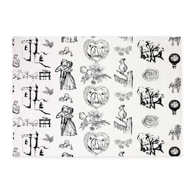 Black And White Toile Rug: Black Toile On 5x7 Feet Rug 5'x7'Area Rug By