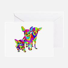 3 Colored Chihuahuas Greeting Card