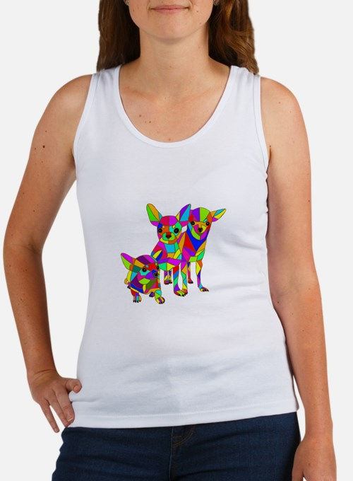 3 Colored Chihuahuas Women's Tank Top