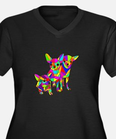 3 Colored Chihuahuas Women's Plus Size V-Neck Dark