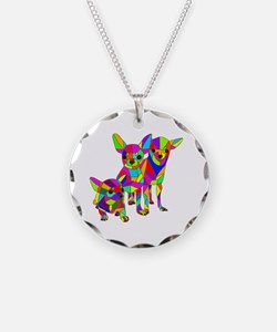 3 Colored Chihuahuas Necklace