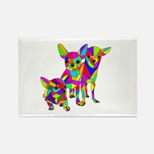 3 Colored Chihuahuas Rectangle Magnet