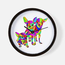 3 Colored Chihuahuas Wall Clock